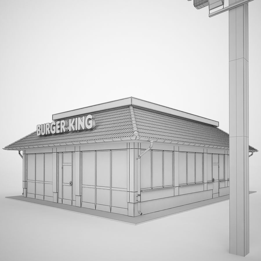 Burger King Restaurant 01 royalty-free 3d model - Preview no. 10