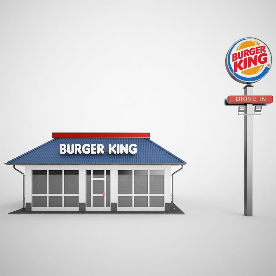 Burger King Restaurant 01 royalty-free 3d model - Preview no. 5