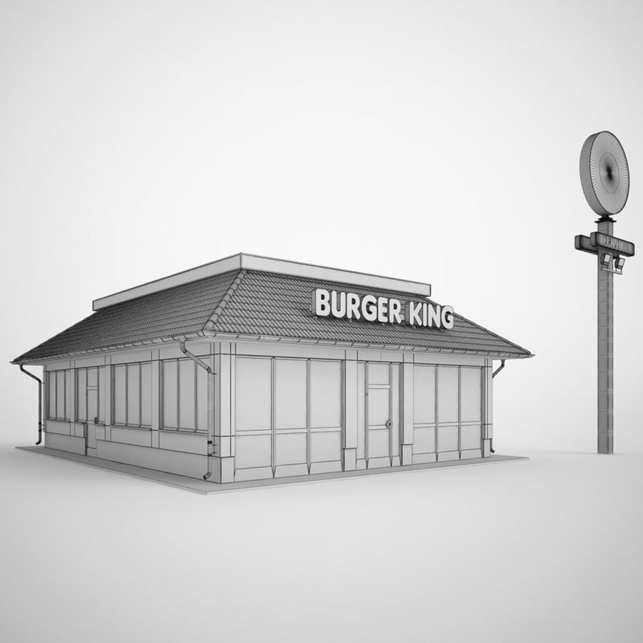 Burger King Restaurant 01 royalty-free 3d model - Preview no. 3