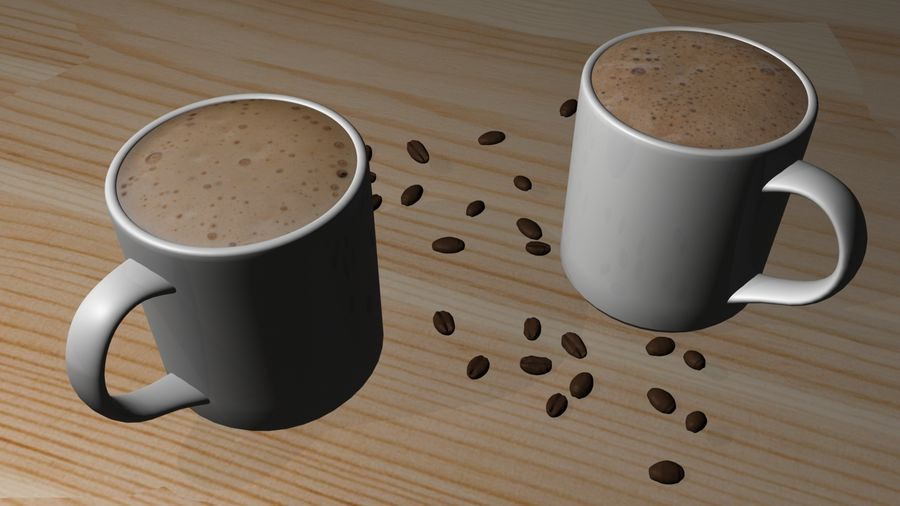 Kahve Fincanı, Cappuccino veya Sıcak Çikolata royalty-free 3d model - Preview no. 7