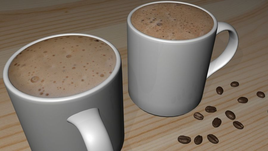 Kahve Fincanı, Cappuccino veya Sıcak Çikolata royalty-free 3d model - Preview no. 4