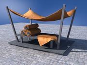 Medieval market stand 3d model