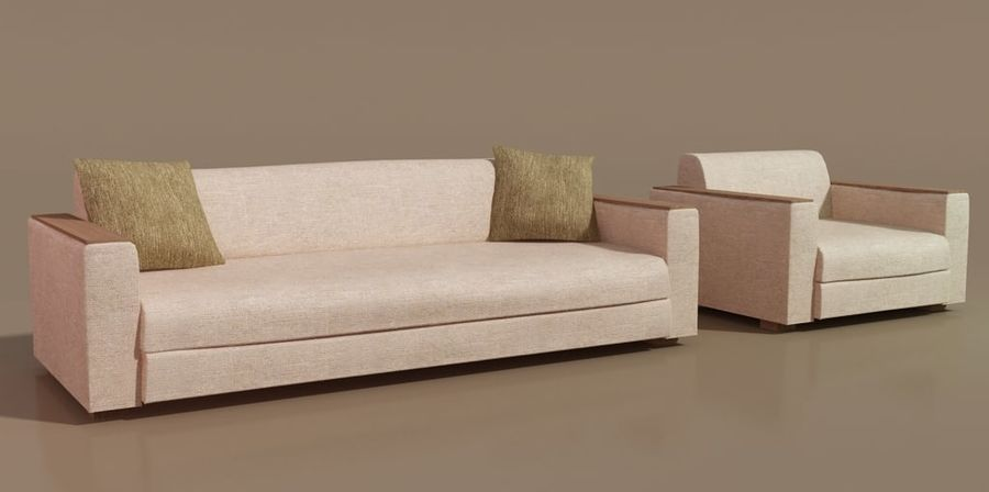 Sofa und Stuhl royalty-free 3d model - Preview no. 1