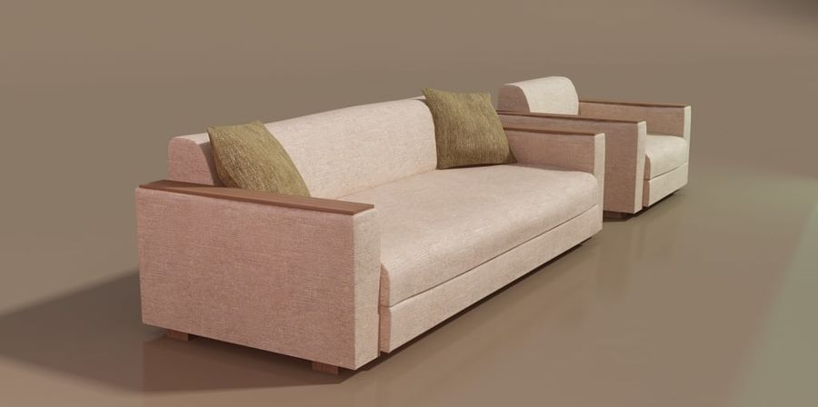 Sofa und Stuhl royalty-free 3d model - Preview no. 4