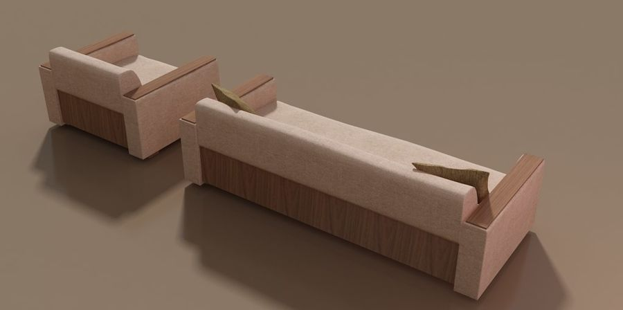 Sofa und Stuhl royalty-free 3d model - Preview no. 2