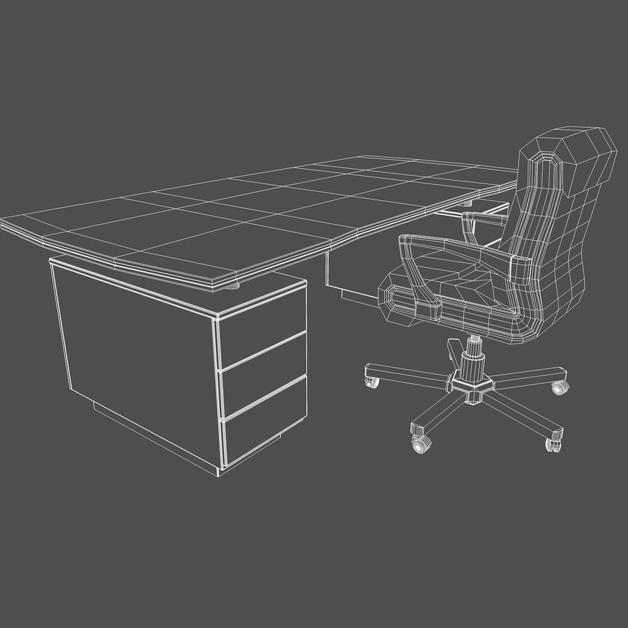 Computer Stuhl und Schreibtisch royalty-free 3d model - Preview no. 1
