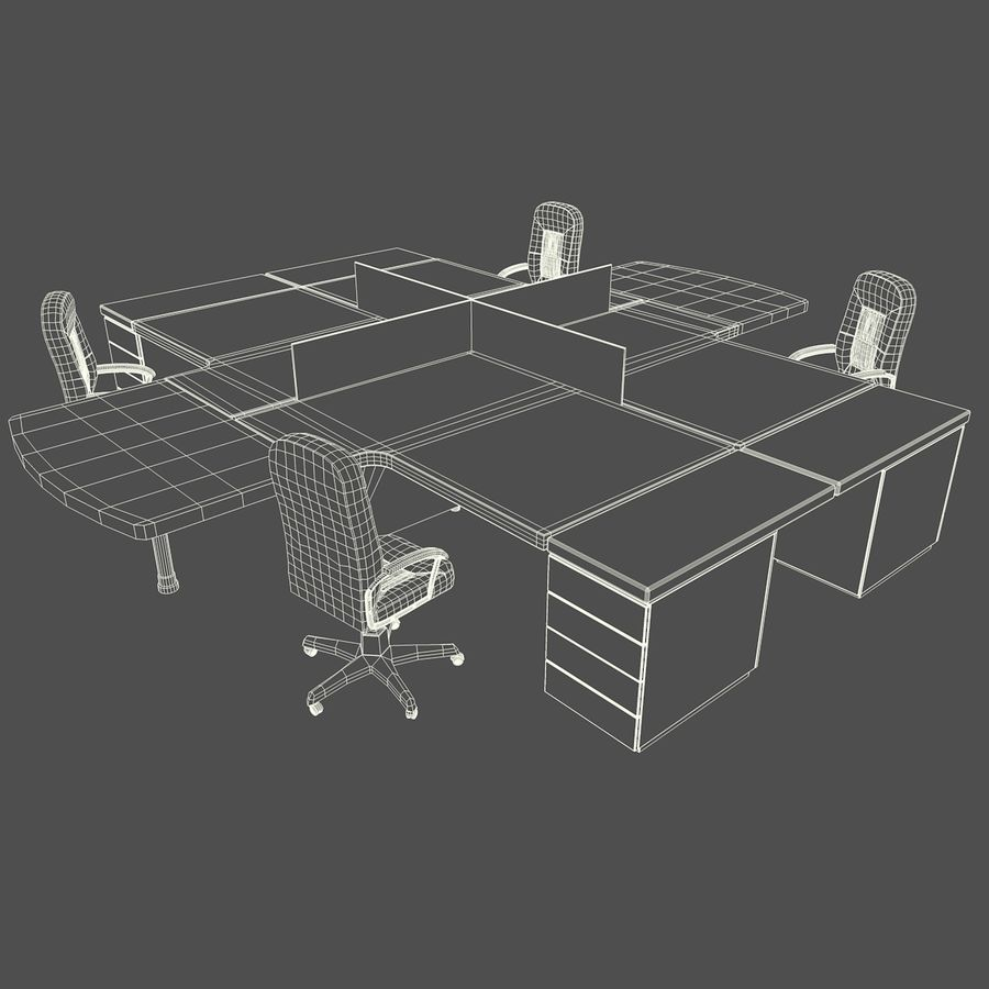 Workstation Desk royalty-free 3d model - Preview no. 3