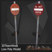 Road Signs Set 01 Low Poly 3d model