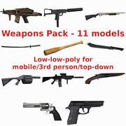 Set de armas de baja poli modelo 3d
