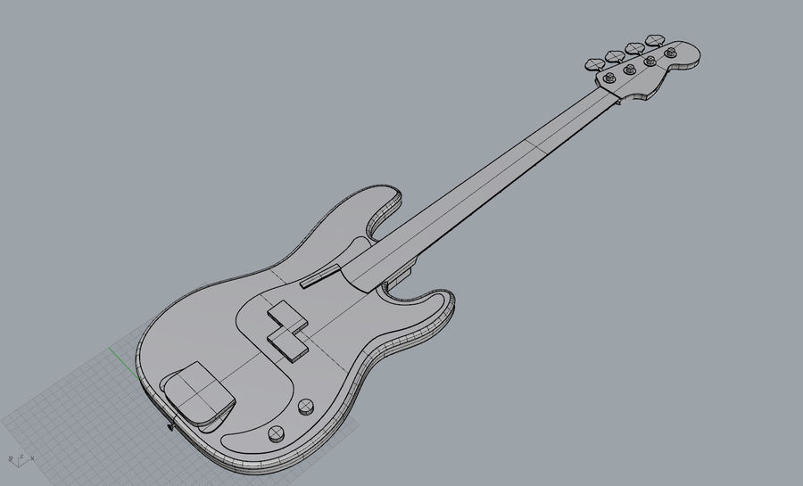 Fender Präzision royalty-free 3d model - Preview no. 7