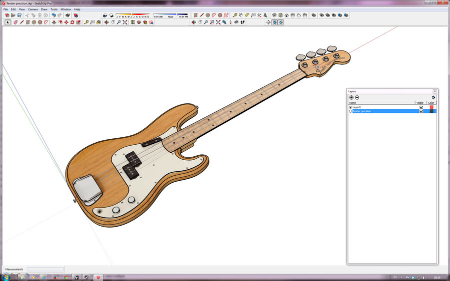 Fender Präzision royalty-free 3d model - Preview no. 12