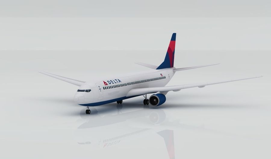 Boeing 737-800 Delta royalty-free 3d model - Preview no. 1
