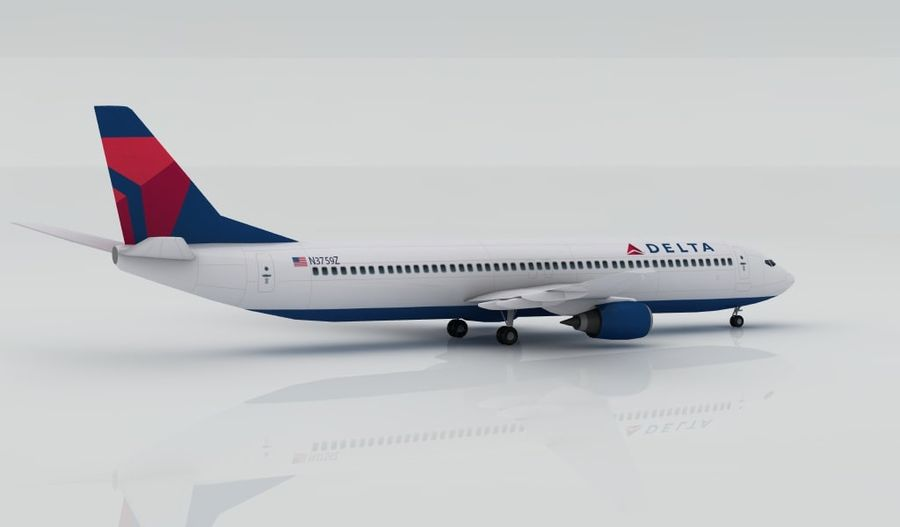 Boeing 737-800 Delta royalty-free 3d model - Preview no. 4