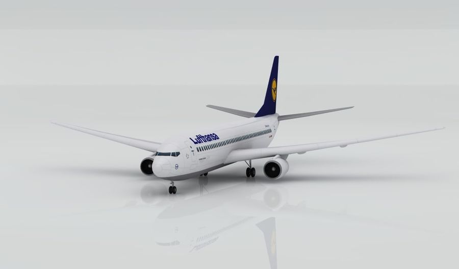 Boeing 737-800 Lufthansa royalty-free 3d model - Preview no. 3