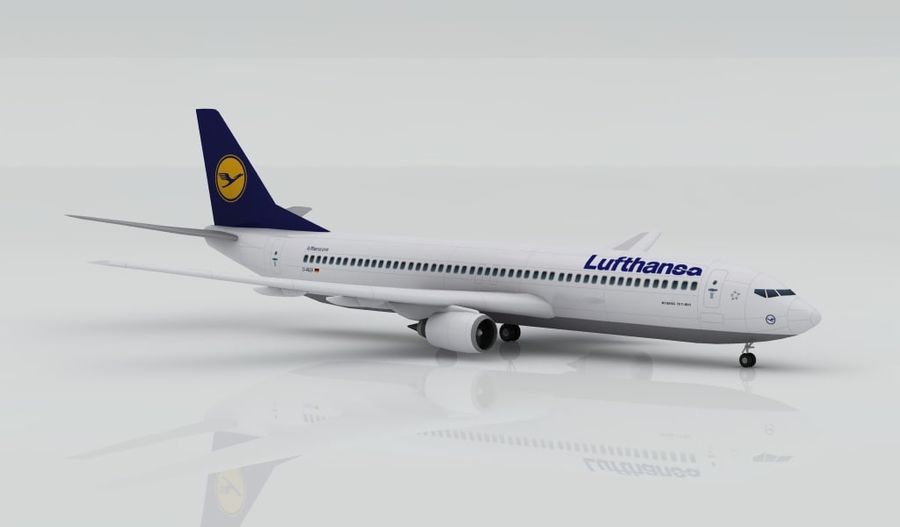Boeing 737-800 Lufthansa royalty-free 3d model - Preview no. 4
