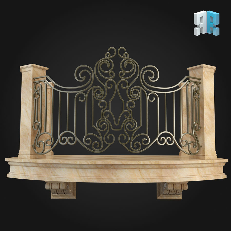 Balcony 008 royalty-free 3d model - Preview no. 3