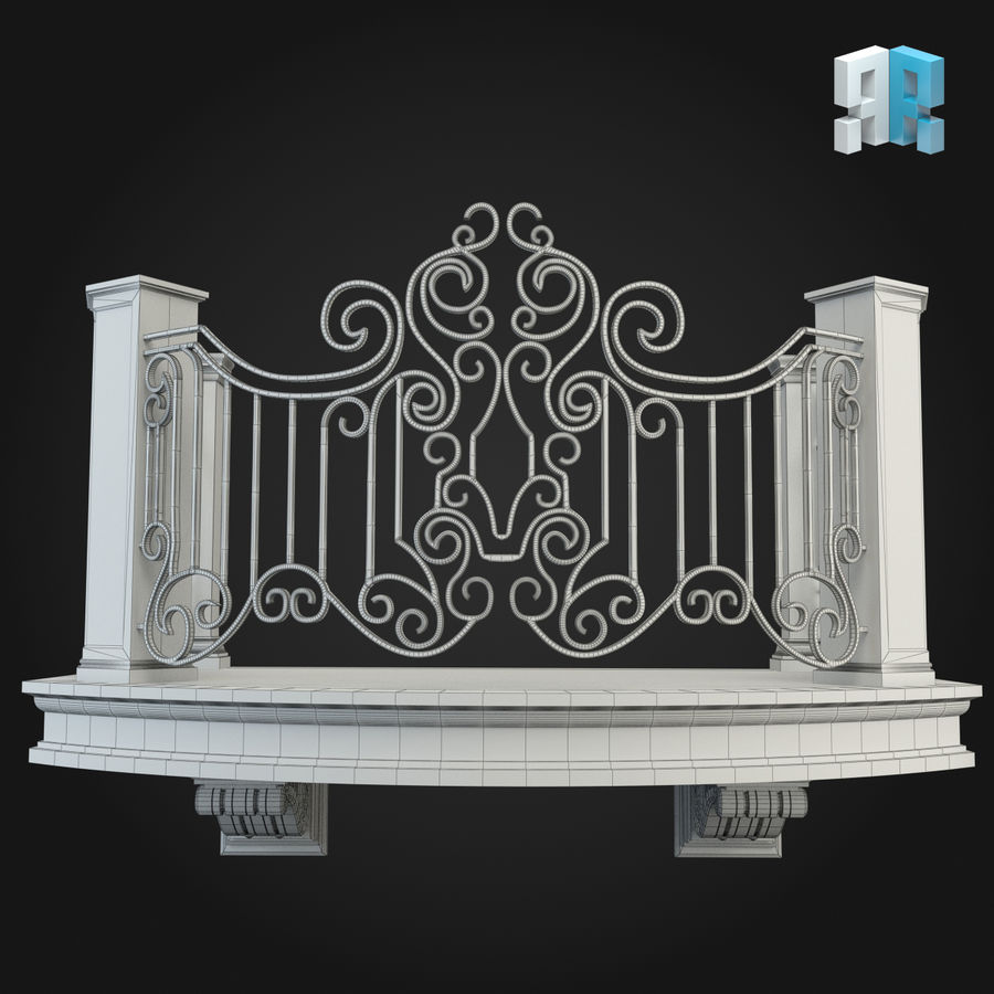 Balcony 008 royalty-free 3d model - Preview no. 4
