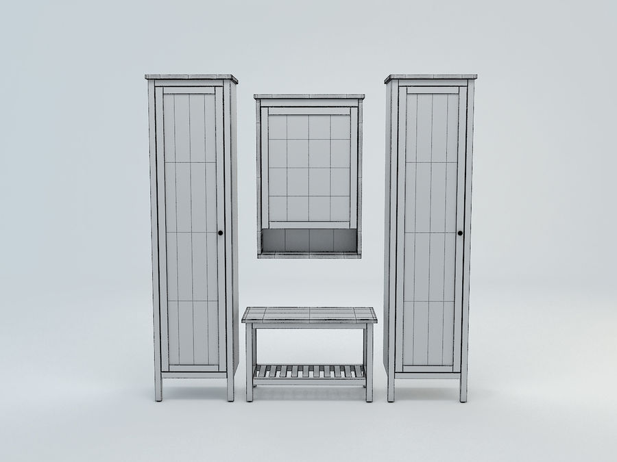 Hemnes Cabinet Set royalty-free 3d model - Preview no. 5