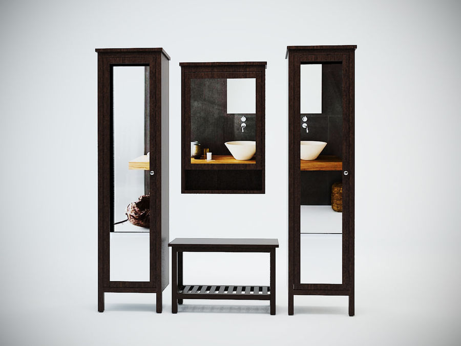 Hemnes Cabinet Set royalty-free 3d model - Preview no. 2
