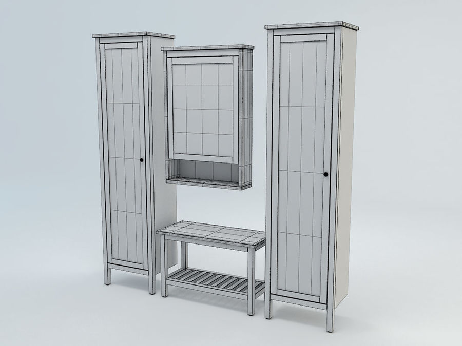 Hemnes Cabinet Set royalty-free 3d model - Preview no. 6