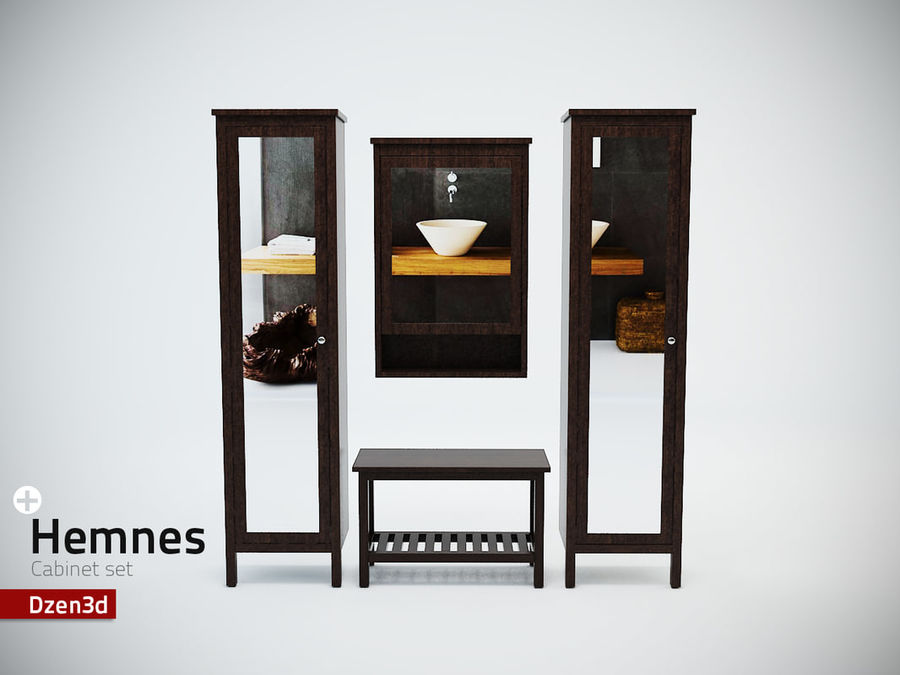 Hemnes Cabinet Set royalty-free 3d model - Preview no. 1