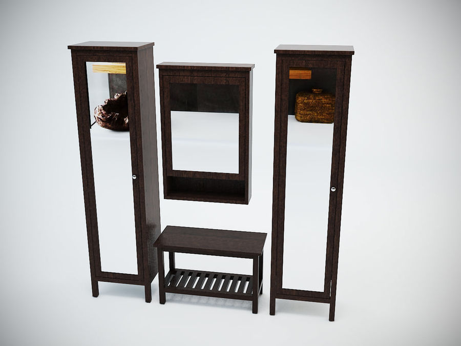 Hemnes Cabinet Set royalty-free 3d model - Preview no. 4
