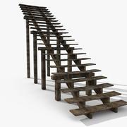 Stare drewniane schody wewnętrzne 3d model