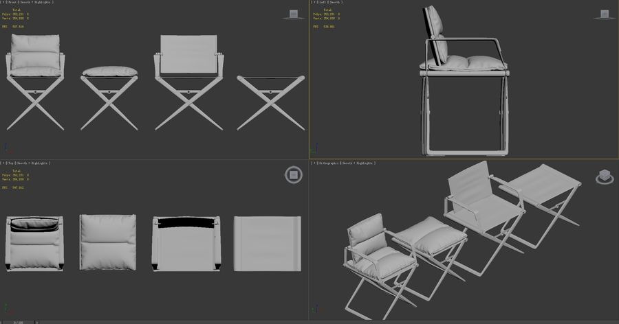 Sessel und Sessel royalty-free 3d model - Preview no. 9