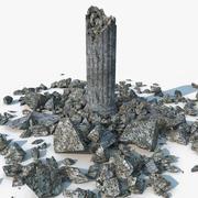 Columna de piedra dañada modelo 3d