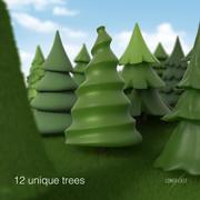 Toon trees 3d model