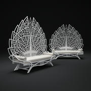 Upholstered-Rattan-Bench 3d model