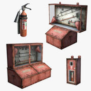 Fire Extinguisher Set (Low Poly) 3d model