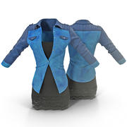 Jeans Jacket and Dress 3d model