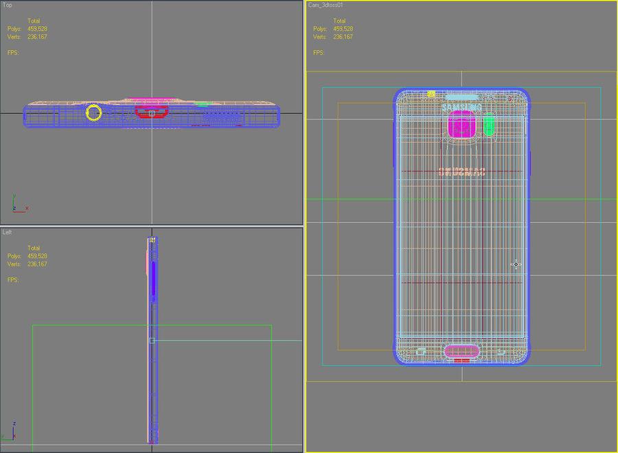 Samsung Galaxy Alpha Charcoal Preto royalty-free 3d model - Preview no. 43