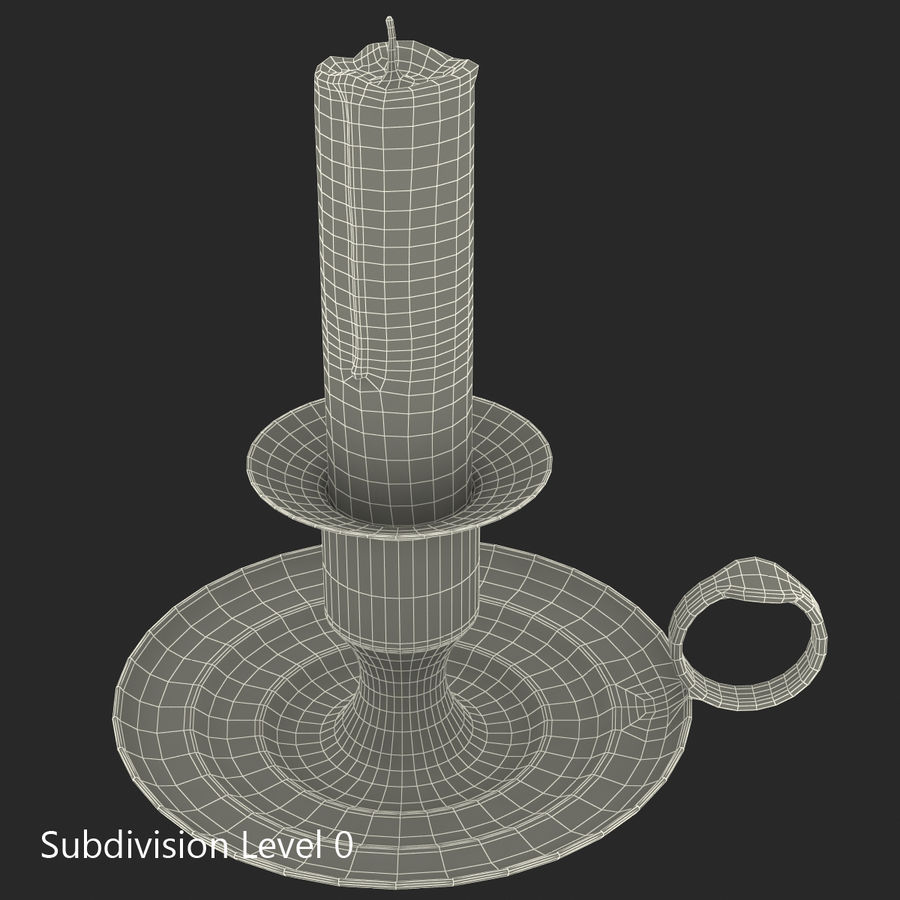 Antique Brass Candle Holder royalty-free 3d model - Preview no. 17