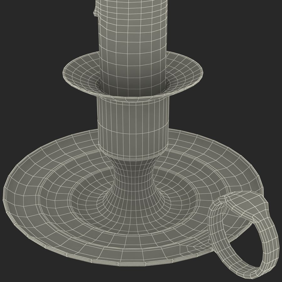 Antique Brass Candle Holder royalty-free 3d model - Preview no. 16