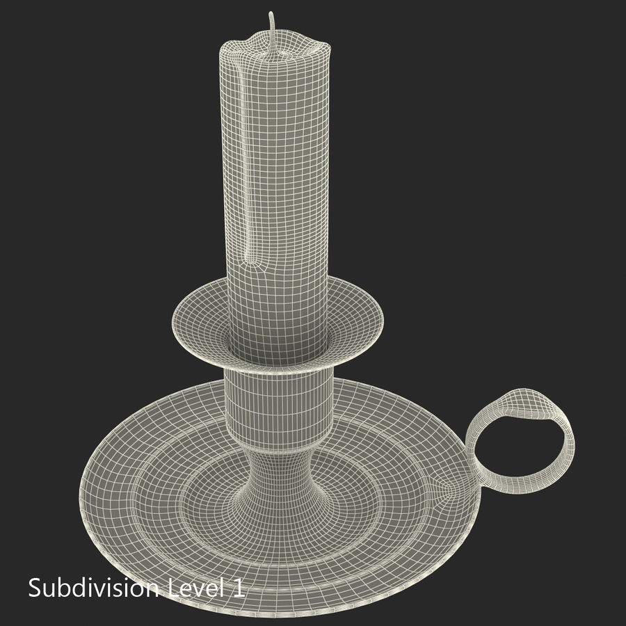 Antique Brass Candle Holder royalty-free 3d model - Preview no. 18