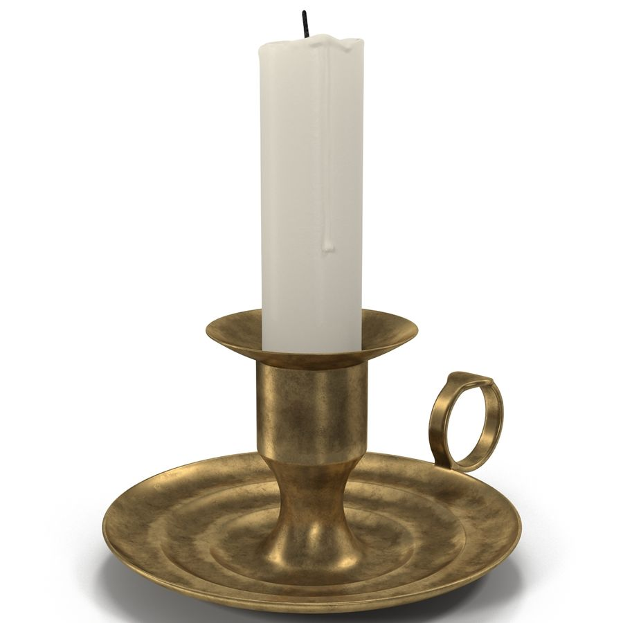 Antique Brass Candle Holder royalty-free 3d model - Preview no. 5