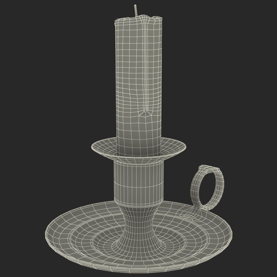 Antique Brass Candle Holder royalty-free 3d model - Preview no. 12