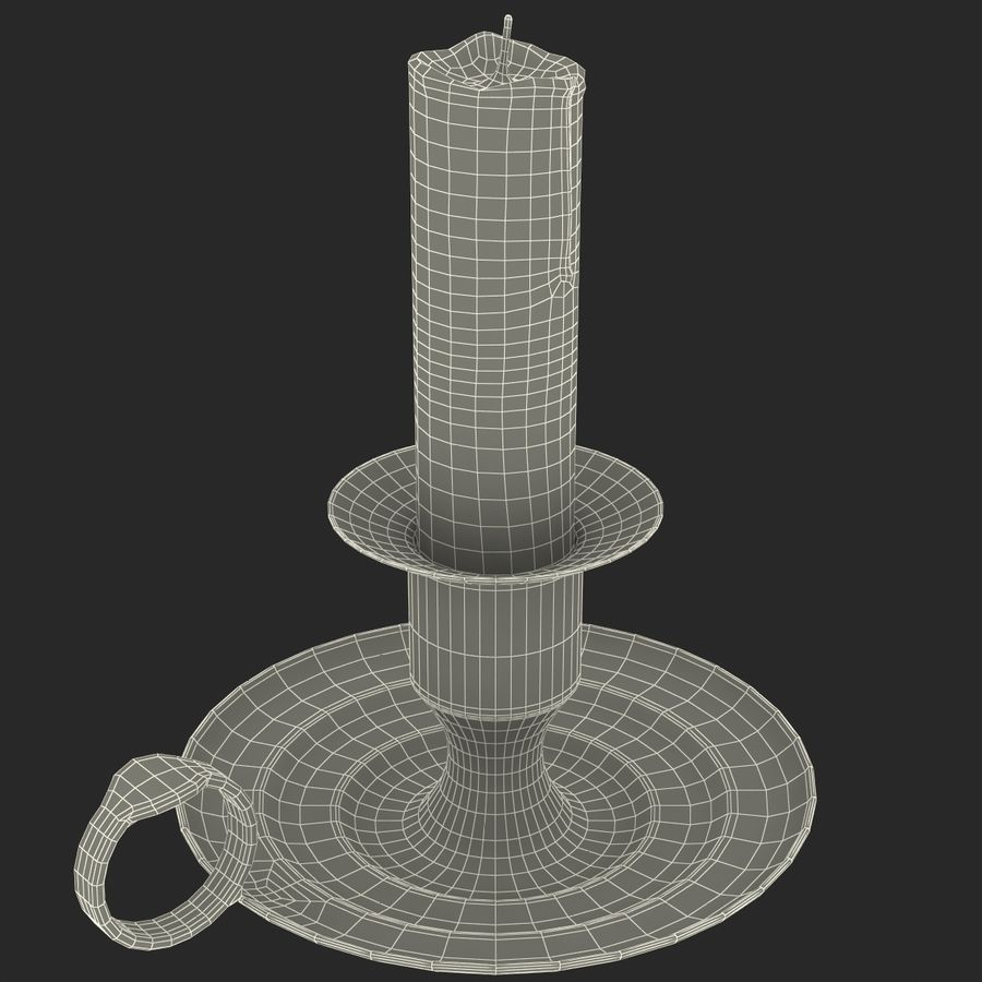 Antique Brass Candle Holder royalty-free 3d model - Preview no. 13