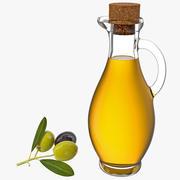 Olive Oil Bottle With Olives 3d model