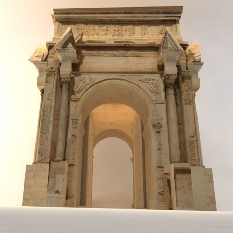 the arch of septimius severus royalty-free 3d model - Preview no. 2