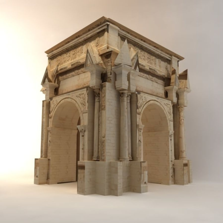 the arch of septimius severus royalty-free 3d model - Preview no. 6