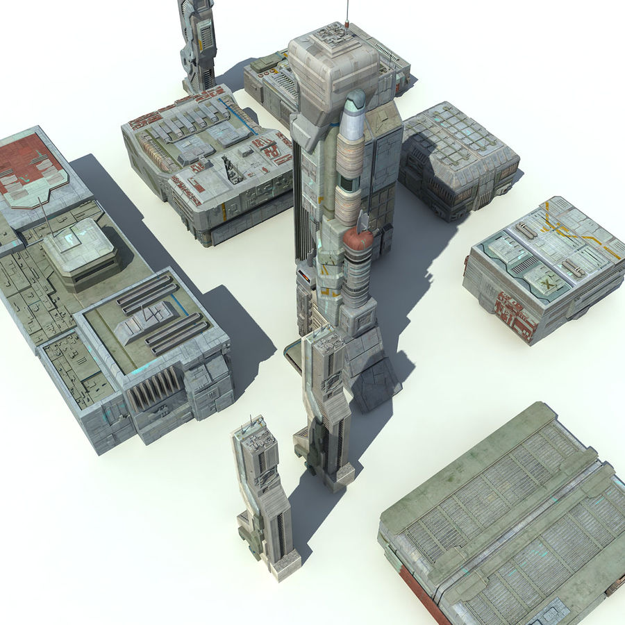 Sci Fi City 11 Buildings royalty-free 3d model - Preview no. 6