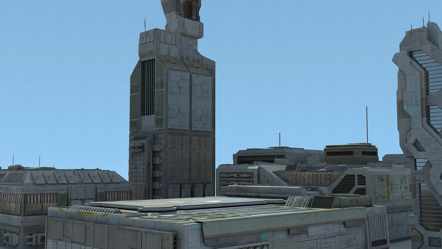 Sci Fi City 11 Buildings royalty-free 3d model - Preview no. 22
