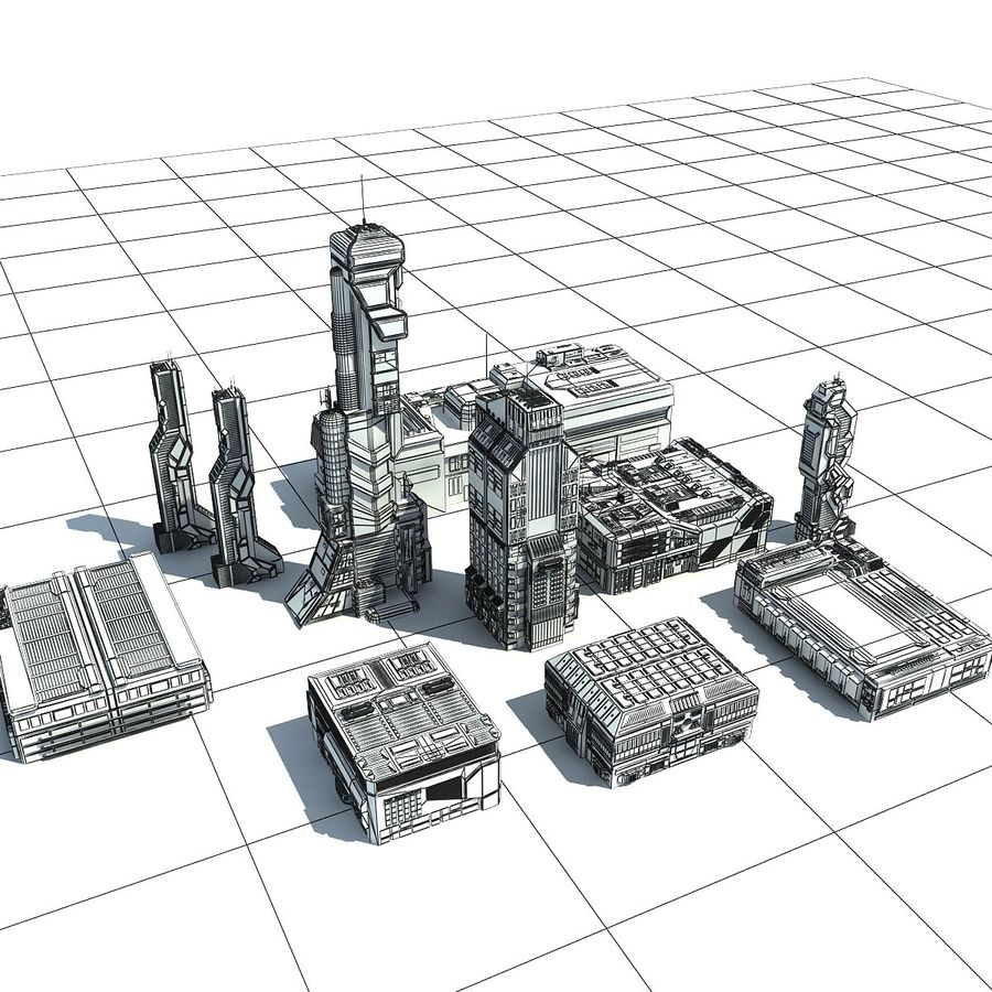 Sci Fi City 11 Buildings royalty-free 3d model - Preview no. 28