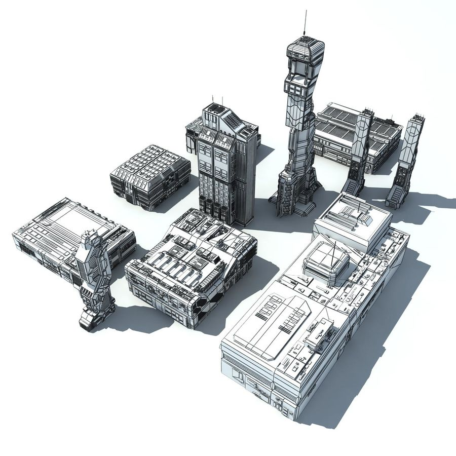 Sci Fi City 11 Buildings royalty-free 3d model - Preview no. 38