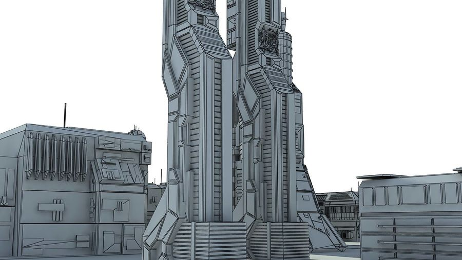 Sci Fi City 11 Buildings royalty-free 3d model - Preview no. 36