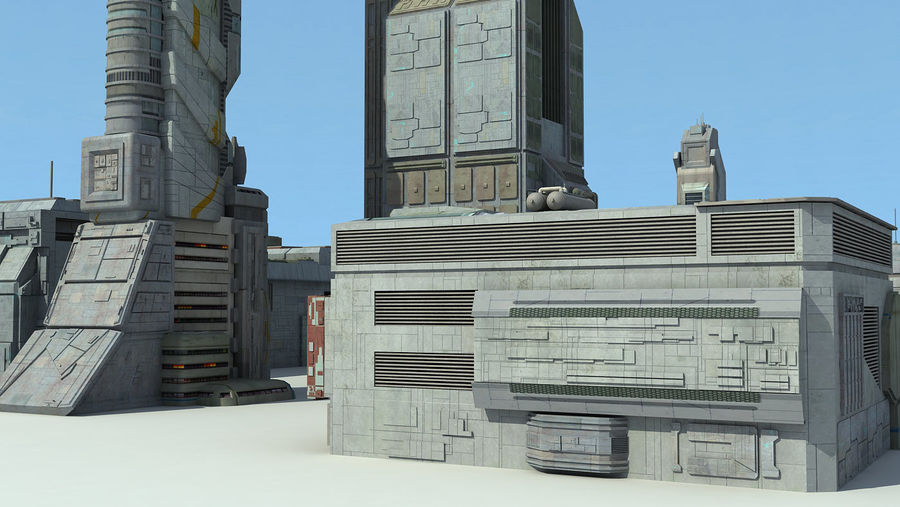 Sci Fi City 11 Buildings royalty-free 3d model - Preview no. 23