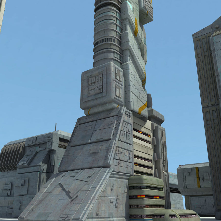 Sci Fi City 11 Buildings royalty-free 3d model - Preview no. 11